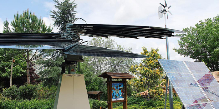 Closed SmartFlower Solar Panel Stand Outside a Public Park