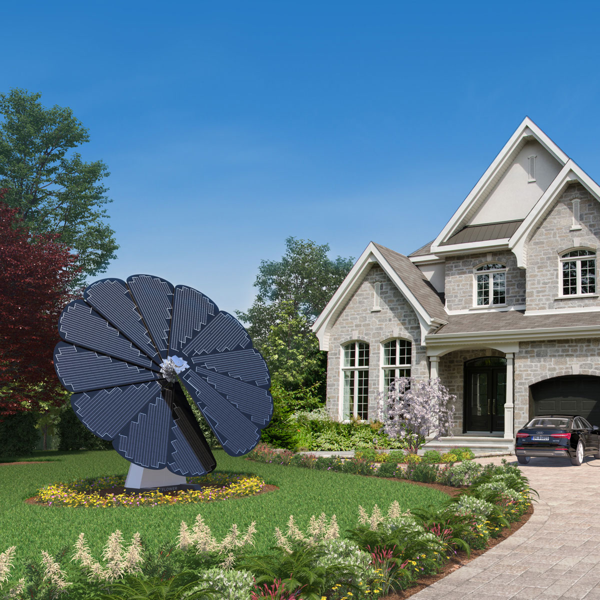 SmartFlower on the Lawn of a Two-Story Family Home