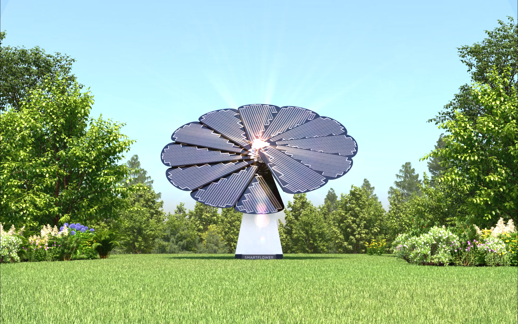 A Single SmartFlower Solar Panel Stands in a Clearing Framed by Trees and Flowers