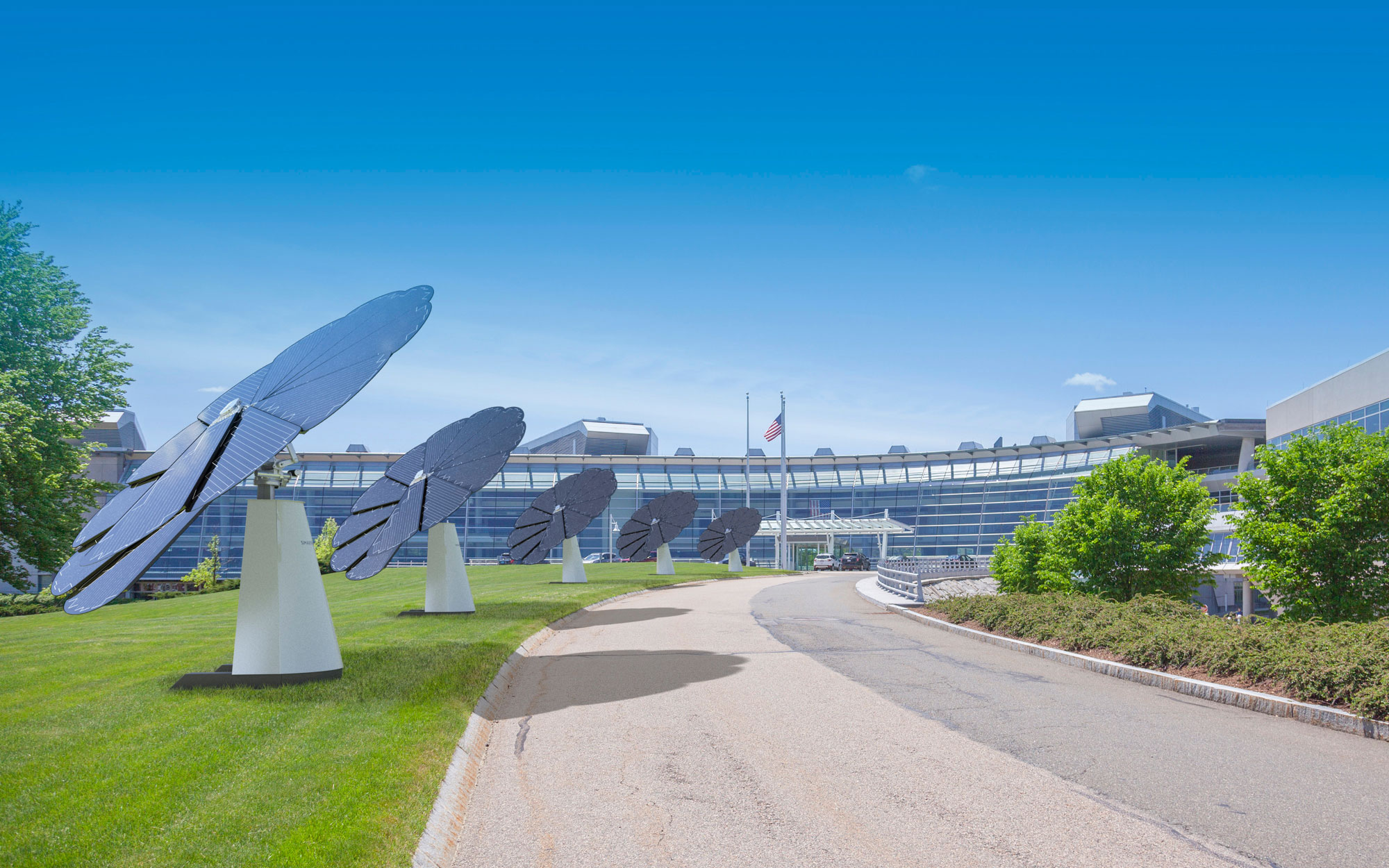 3D Rendering of Multiple SmartFlower Solar Panels Lining the Driveway of a Business