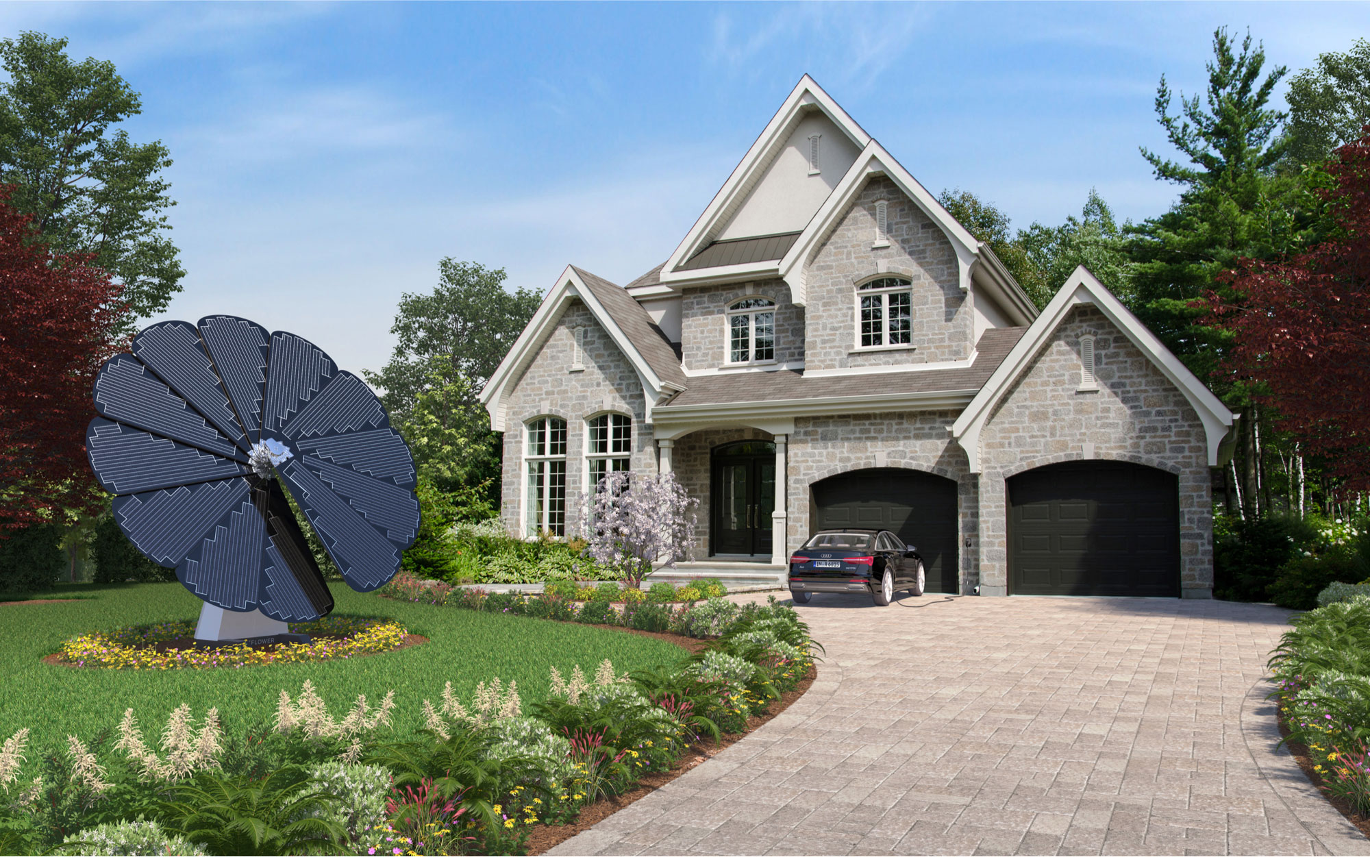 3D Rendering of a SmartFlower Solar Panel in the Front Yard of a Grey Brick Two-Story Home
